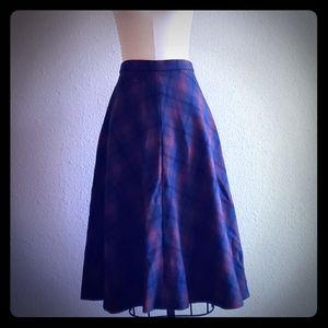 Vintage Hand sewn wool flared  plaid skirt
